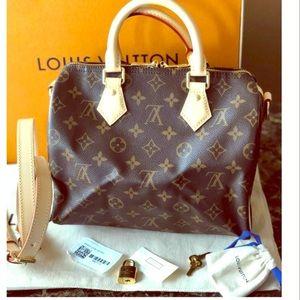 Louis Vuitton Speedy 25 Monogram Bandolier Satchel
